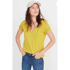 Madewell Mustard Yellow Whisper Cotton V Neck Tee